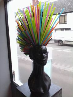 #window_display #up-cycled #straws #hairsalon More