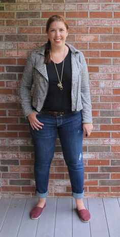 Joules from Pocketful of Joules rocks this casual outfit with a pair of distressed boyfriend jeans and a knit moto jacket from her last Fix. Perfect for those cooler, autumn nights!