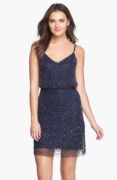 bridesmaids dress ideas Adrianna Papell Sequin Mesh Blouson Dress (Regular & Petite) available at #Nordstrom