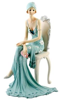 Art Deco Broadway Belles Lady Figurine Figurines Ornament Statue Blue Teal 79