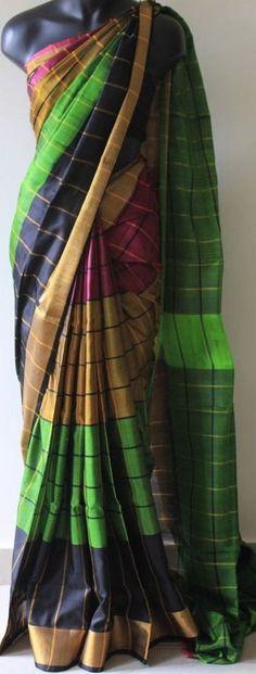 Uppada Multi Color Checks Silk Saree by UppadaPattu on Etsy Indian Silk Sarees, Indian Blouse, Soft Silk Sarees, Cotton Saree, Indian Wear, High Fashion Dresses, Saree Blouse Patterns, Saree Trends, Stylish Sarees