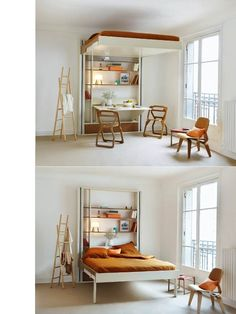 clever hybrid between a murphy bed and a loft bed, this piece can maximize space and create multifunctional areas (a concept particularly useful for shoebox dwellers). The bed is simply lifted to the ceiling when not in use, allowing you to enjoy the extra room. And, unlike murphy or loft beds, the mobile bed doesn't require you to climb any stairs or adjust messy bedding. Simply lower it down when you're ready to turn in for the night. Quite brilliant.