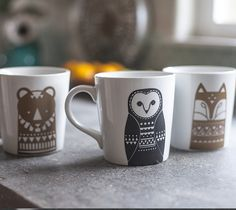 Scandinavian Animal Mugs by Lia Griffith. Make It Now with the Cricut Explore machine in Cricut Design Space.