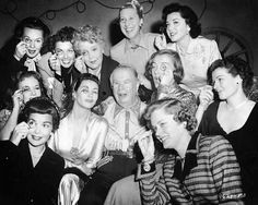 Check Out These Famous Faces! - Donning his trademark monocle, a bevy of Hollywood actresses celebrate Charles Coburn´s birthday on the set of Louisa (1950): Jane Wyman, Piper Laurie, Maureen O´Sulllivan, Ann Sheridan, Yvonne De Carlo, Spring Byington, Charlotte Greenwood, Ella Raines, Alexis Smith, Ruth Hussey and Ann Rutherford. The only one that's still living is Piper Laurie.