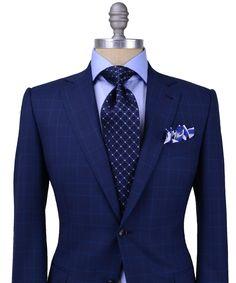 Ermenegildo Zegna Blue Glen Plaid with Blue Windowpane Suit