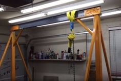 Gantry Crane - Homemade 8'-span gantry crane fabricated from I-beam, square tubing, steel plate, and hardware.