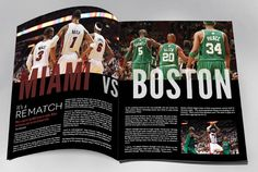 In this basketball spread I really like how it looks competitive. They have the sides split by team image. Also doing that makes me think the two pages are connected. There is good contrast with the different colors for the teams, and also between the size of fonts. The alignment at the bottom makes there seem like there isn't a page of information to read which won't intimidate a reader. I really like this idea and could see myself using it in my project.