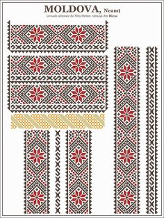 Ie MOLDOVA, Neamt / Bicaz Folk Embroidery, Cross Stitch Embroidery, Embroidery Patterns, Knitting Patterns, Learn Embroidery, Cross Stitch Borders, Cross Stitching, Cross Stitch Patterns, Moldova