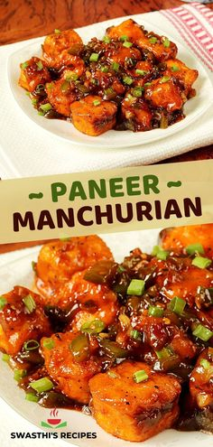 Making this delicious restaurant style Paneer manchurian is super easy with this recipe. It's a popular Indo-Chinese appetizer made by tossing fried paneer in sweet tangy and spicy manchurian sauce. You can also serve it with noodles or fried side as a side. Indian Snacks, Indian Food Recipes, Ethnic Recipes, Manchurian Recipe, Paneer Dishes, Tasty Vegetarian Recipes, Delicious Restaurant, Paneer Recipes, Food Stations