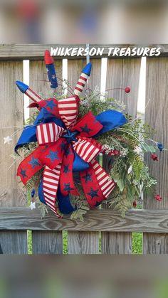 Fourth Of July Decor, 4th Of July Celebration, 4th Of July Decorations, 4th Of July Party, 4th Of July Wreath, July 4th, Diy Bow, Diy Ribbon, Ornament Wreath