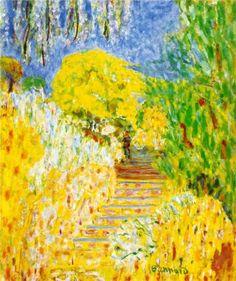 """""""The garden steps""""    - Pierre Bonnard    - 1940 - Le Cannet, France .............#GT"""