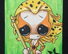 Sugar Fueled Cheetara Thundercats 80's cartoons lowbrow pop surrealism creepy cute big eye ACEO mini print