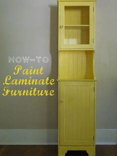 how to paint laminate!  Now I can repaint my black corner cabinet that I got for really cheap at LL Bean. I've been wanting to do it for years, but never could find a easy method.