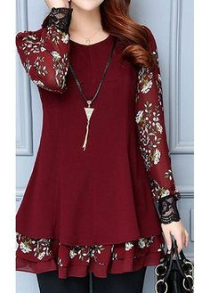 rotita.com - unsigned Printed Long Sleeve Layered Wine Red Blouse - AdoreWe.com Trendy Dresses, Stylish Outfits, Fashion Dresses, Girls Dresses, Cotton Saree Blouse Designs, Remake Clothes, Dress Brokat, Lace Outfit, Batik Dress