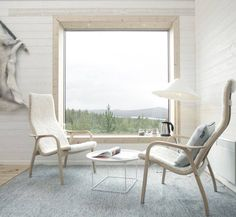 A Swedish design corner with a couple of Lamino Chairs, designed in 1956 by Yngve Ekstöm , the founder of Swedese Furniture