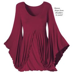 Scarlet Isadora Tunic It's a color sensation! The sleeves sweep down from the shoulders and up to the waist in one cascade of stretchy fabric. Lettuce edges. ~ Truly a beautiful top with the most lovely sleeves imaginable. LD.