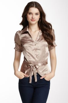 Belted Button Front Blouse...perfect for work
