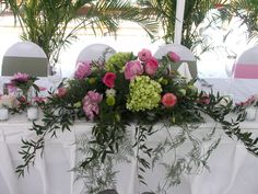 head table flower arrangements | Roses with Trailing Greenery