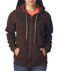 18700FL Gildan Heavy Blend™ Ladies' Vintage Full-Zip Hooded Sweatshirt Russet