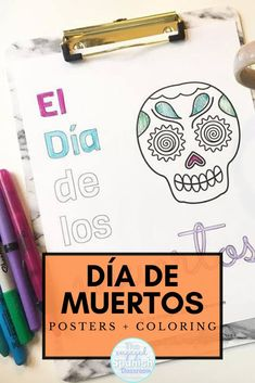 Celebrating Día de los Muertos in the secondary Spanish classroom is such an important thing to do -- which you already know if you're a middle school or high school Spanish teacher! This pack of coloring pages and posters with phrases related to Day of the Dead will be such a wonderful addition to your classroom decor in October. They'll help your students learn a little more about this important Latin American holiday and add festive classroom decor! Click through to purchase this pack… Spanish Activities, Color Activities, Number Activities, Halloween Activities, Holiday Activities, November In Spanish, Spanish Classroom Posters, Study Spanish, Spanish 1
