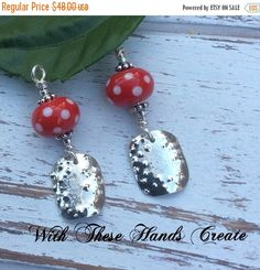 SALE Red Polka Dot Earrings by WithTheseHandsCreate on Etsy
