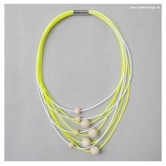 Necklace EO #1 Yellow-White 58 cm
