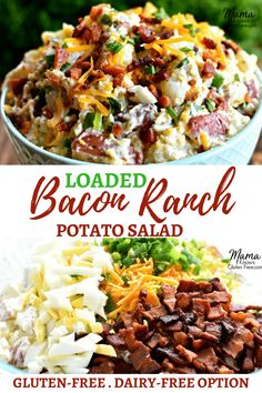 Loaded Bacon Ranch Potato Salad. A creamy potato salad made with a homemade ranch dressing, bacon, cheddar cheese, hard-boiled eggs and green onions. All of your favorite flavors from a loaded baked potato.  A perfect gluten-free creamy potato salad for your next cookout or family get together. A summer classic that everyone will love! Recipe from www.mamaknowsglutenfree #potatosalad #bacon #ranch #summerrecipes #cookoutrecipes #glutenfreerecipes #sidedish #easyrecipe