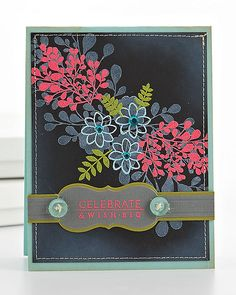by Betsy Veldman, white stamped on black, then another layer of stamping with bright embossing powder. Love this effect!