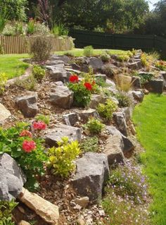 Large rocks retain a sloped area