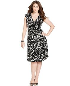 Jones New York Dress, Cap-Sleeve Printed.  Macy's - $134