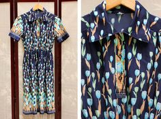 Vintage Navy Printed Floral Shirt Dress by vicandlily on Etsy, $22.00