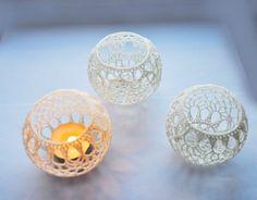 Wedding Table Centerpiece Crochet Candle Holders by VasilisaSkaska