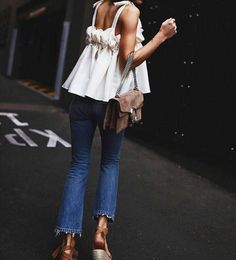 Summer fashion jeans and white top, wedges