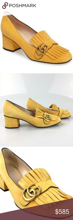 27a0d21cccb Gucci Yellow Marmont Fringe Loafer Suede Pumps CONDITION Gently Used Light  scratches on the soles.