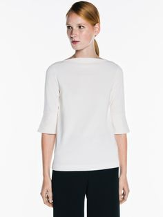 """VERONIKA MAINE - Textured Knit Fluted Top. """"This top is made from a textured double knit. It features a slim sleeve with a fluted cuff and a wide slash neckline. This style has an easy, relaxed fit."""""""