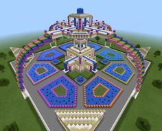 Minecraft Sky Rainbow Waterfall Garden Fountain Temple Creation House