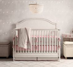 RH Baby & Child's Girl Nursery Collections:Shop baby cribs at Restoration Hardware Baby & Child. All cribs convert to toddler beds and are JPMA-certified to comply with the most rigorous safety standards. Restoration Hardware Crib, Music Nursery, Girl Nursery Bedding, Bunny Nursery, Modern Crib, Toddler Quilt, Nursery Wallpaper, Upholstered Storage Bench, Rustic White