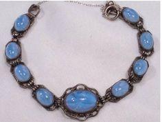 Vintage 1920 ART Deco Bracelet  BLUE star by vintagesparkles, $125.00