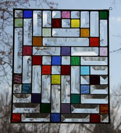Original Twisted Stained Glass Window Panel