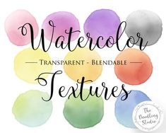 ● Watercolour Blob Textures - 10 COLORS (png, transparent, blendable) ●  --- The pack includes: ---  10 images in transparent png format in 300dpi. Each is a blob in a different color, a total of 10 colors! The whole rainbow!  #clipart #watercolortexture #etsyshop #watercolorblob