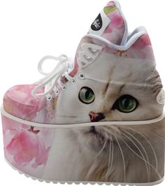 White Cat and Pink Flowers Buffalo Platform #paom #shoes