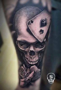 Gamble skull realism tattoo - Malan Tattoo Dublin, Joel Tamsalu
