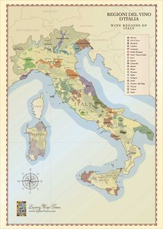 Wine Regions of Italy Map