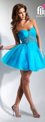 SALE! FLIRT by Maggie Sottero Prom Dresses-Bright Turquoise Strapless Beaded Empire Short Dress