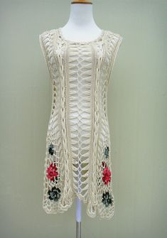 Black Crochet Floral Dress Women Sleeveless Tunic Top
