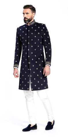 Shop for the Esfahan Navy Blue Sherwani Indian Formal Wear, Mens Indian Wear, Mens Ethnic Wear, Indian Groom Wear, Indian Men Fashion, Mens Fashion, Ethnic Fashion, African Fashion, Blue Sherwani