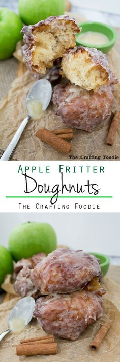 These Apple Fritter Doughnuts are crisp on the outside, light and fluffy on the inside and enrobed in a thick, vanilla bean glaze. They're made with apple cider and are packed with chopped apples giving them a delicious, fresh apple flavor.