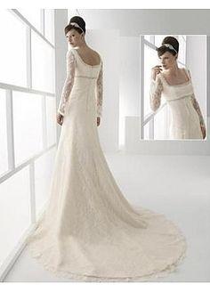 Stunning Lace A-line Square Neckline Wedding Dress