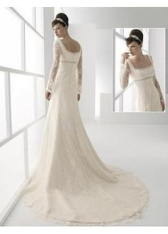 Stunning Lace A-line Square Neckline Wedding Dress