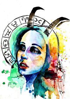 Zodiac Sign Capricorn. Art by Gabi Xavier